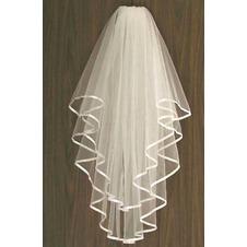 Velo da sposa Primavera Breve Lungo Seghettato drammatico Bianco