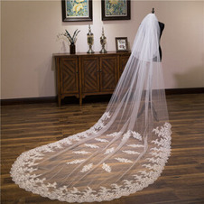 Velo da sposa in pizzo con coda grande nuovo velo di fiori in fila di pizzo Velo da 3,5 m