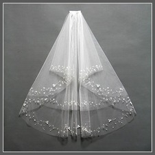 Velo da sposa Breve Primavera moda Con il pettine Perline Bianco