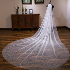 Velo da sposa lucido velo da sposa coda extra lunga velo bianco