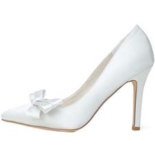 Fiocco in raso con tacchi a spillo scarpe da principessa scarpe da sposa