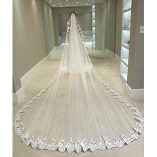 Velo da applique in pizzo cattedrale Velo da sposa squisito ed elegante Velo da sposa grande coda 350CM