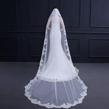 Elegante velo da sposa in pizzo con pettine lungo 3 metri