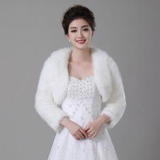 Scialle da sposa Inverno Bianco Lungo Spessore Pellicia Tasca Sulla Manica