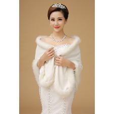 Scialle da sposa Pellicia Bianco Grandi piazze Affascinante Caldo Lungo
