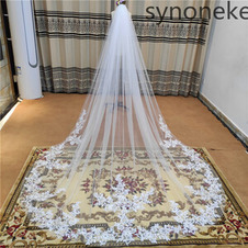 Velo da sposa monostrato in pizzo velo da sposa applique bianco avorio velo 3 metri