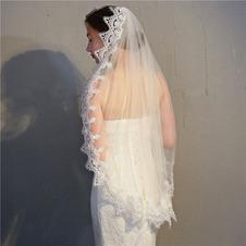 Copricapo da velo semplice da sposa con velo corto in pizzo da sposa