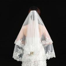 Velo da sposa elegante velo corto vero velo fotografico uno strato di velo da sposa bianco avorio