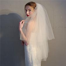 Velo corto doppio strato soffice bianco avorio con velo da sposa a pettine