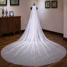 Sposa velo da sposa coda lunga copricapo bianco lucido cielo stellato velo