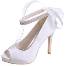 Scarpe da sposa con tacco a spillo in raso Scarpe con bocca di pesce Scarpe da banchetto per feste annuali