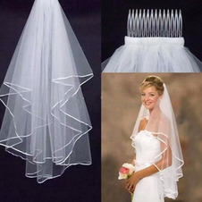 Velo da sposa con doppio bordo in nastro di raso bianco / avorio all'ingrosso