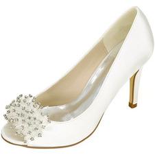 Scarpe da sposa da donna con bocca bassa e testa di pesce tacchi alti con strass scarpe singole da damigella d'onore sandali da banchetto