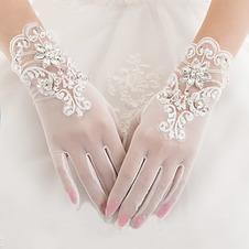 Guanti da sposa Breve Pieno finger Estate Decorazione Perline Bianco