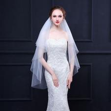 Velo da sposa semplice velo da sposa in morbido tessuto con pettine