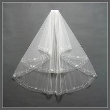 Velo da sposa Lungo Breve moda Con il pettine bordo tornito Multi Strati