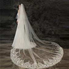 Velo da sposa a coda grande velo da sposa con velo applique in pizzo pettinato