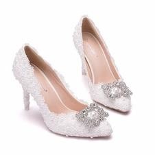 Scarpe strass singole scarpe da sposa scarpe da festa in pizzo
