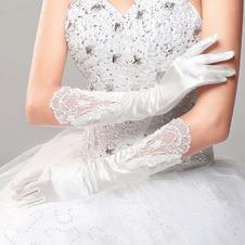 Guanti da sposa Spessore Rosso Pieno finger Inverno Chiesa Applique