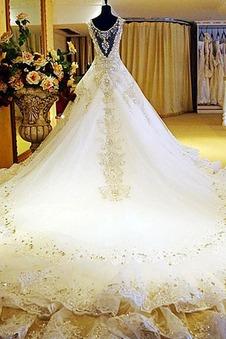 Abito da sposa Maniche Corte V-Scollo Pizzo moda Shiena Sheer Applique
