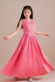 Abito cerimonia bambina Eleganti Maniche Corte Cerniera Alle Caviglie Festoni