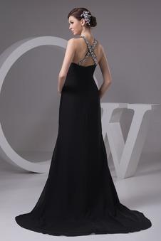 Vestito lungo nero Mezza Coperta Naturale bordo rialzato foglia guaina
