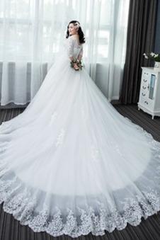 Abito da sposa V-Scollo Non Specificato Raso Applique Allacciato Lace Coperta