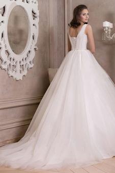Abito da sposa Quadrato Ball Gown Naturale tradizionali Allacciato