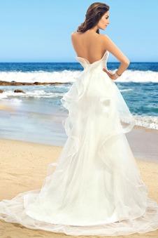 Abito da sposa A-Line Naturale unbacked Increspature senza spalline