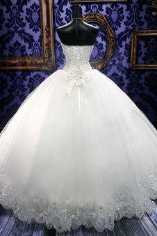 Abito da sposa Lungo Allacciato Perline Ballgown Belle Eleganti Senza Maniche
