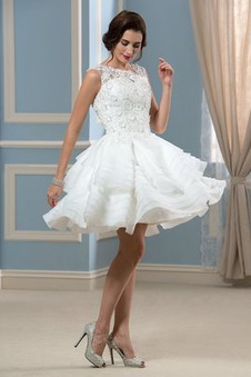 Abito da sposa Estate Organza Oscillare a linea Shiena Sheer Applique