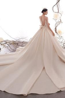 Abito da sposa Schiena Nuda Formale Naturale A-Line Perline Caduta
