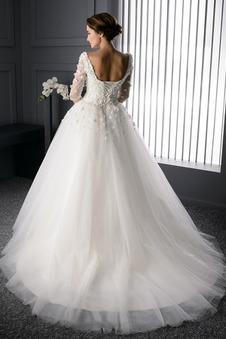 Abito da sposa Tondo Naturale tessuto Ball Gown Fiore Bendaggio