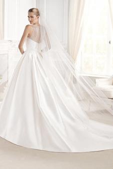 Abito da sposa Naturale Ball Gown indietro trasparente decorato Raso