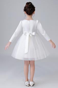 Abito cerimonia bambina Eleganti Tulle Non Specificato Naturale Perline al ginocchio