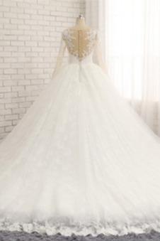 Abito da sposa Shiena Sheer Lace Coperta A-Line Quanto completo Corpo a pera