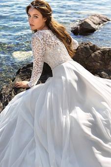 Abito da sposa A-Line Spiaggia Quanto V-Scollo Maniche Lunghe in pizzo