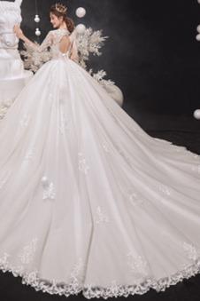 Abito da sposa Principessa Pudica Pizzo francese V-Scollo Primavera