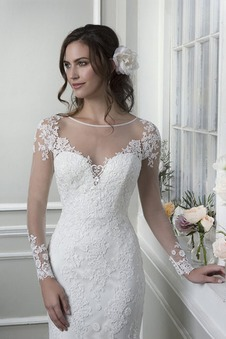 Abito da sposa all'aperto Shiena Sheer Primavera Applique sirena Pizzo