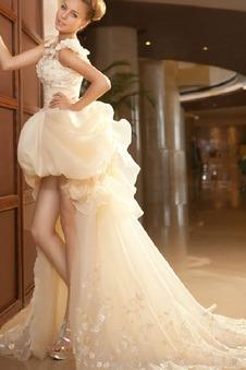 Abito da sposa Asimmetrico Naturale Perline Organza Triangolo Invertito