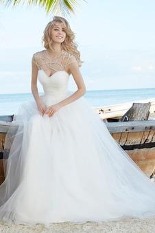 Abito da sposa Tulle Spiaggia Semplici Perline Naturale decorato