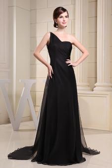 Vestito nero lungo Scollo Asimmetrico Semplici Naturale Schiena Nuda