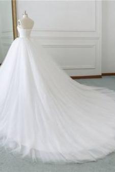 Abito da sposa Tulle Caduta Lungo Multi Strati Festoni A-Line