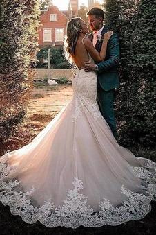 Abito da sposa Lungo Triangolo Invertito Pizzo Overlay tessuto Profondo V-scollo