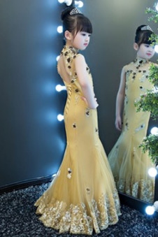 Abito cerimonia bambina Applique Sirena Rosette Ornamento Pizzo Senza Maniche