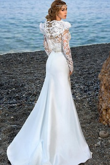 Abito da sposa Sirena Perla Spiaggia collo Sweetheart Naturale Lungo