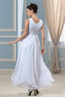 Abito da sposa V-Scollo Alle Caviglie Primavera Cerniera Perline Reale vita alta