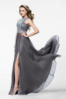 Abito da ballo Naturale Gioielli di cristallo A-Line Fessura anteriore