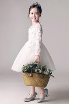Abito cerimonia bambina Maniche Lunghe Formale Naturale decorato Pizzo francese