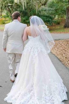 Abito da sposa XL Applique Naturale Treno della corte tessuto Senza Maniche